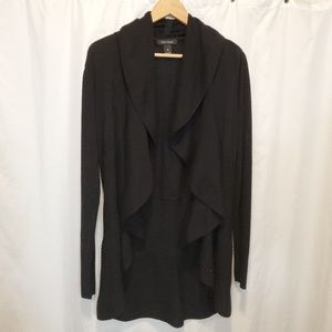 BLACK ribbed cardigans open front